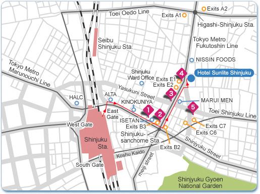 Pearl Hotels Hotel Sunlite Shinjuku Hotel AccessArea Map