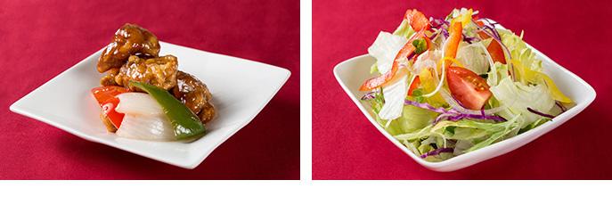 日替わりメニューで肉まんもあります。/ 和食・洋食も入った贅沢料理